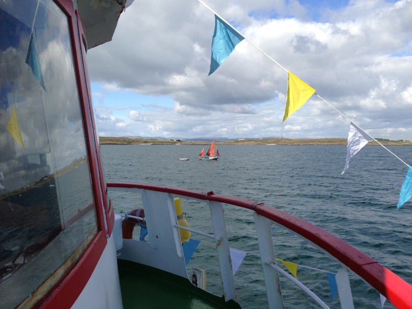 A traditional Hare island lobster boat - sailing past Hare Island