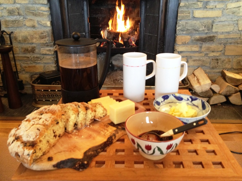 Homemade soda bread by the fire.