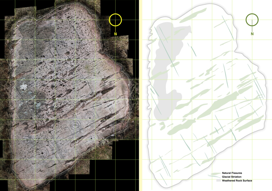The composite photograph (left) and tracing of natural features on the rock (right)