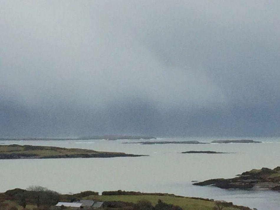 Waves crash against the islands in Roaringwater Bay