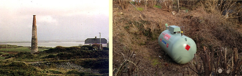 Cappagh Mine: cross section, mine chimney (pre 2002) and our own mine shaft!