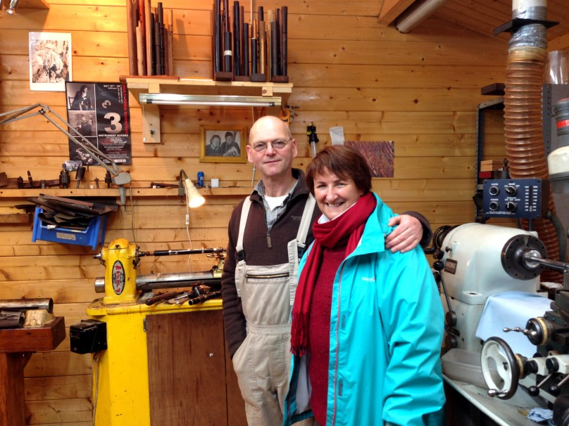 Friends from school: Clare flutemaker Martin Doyle with Finola