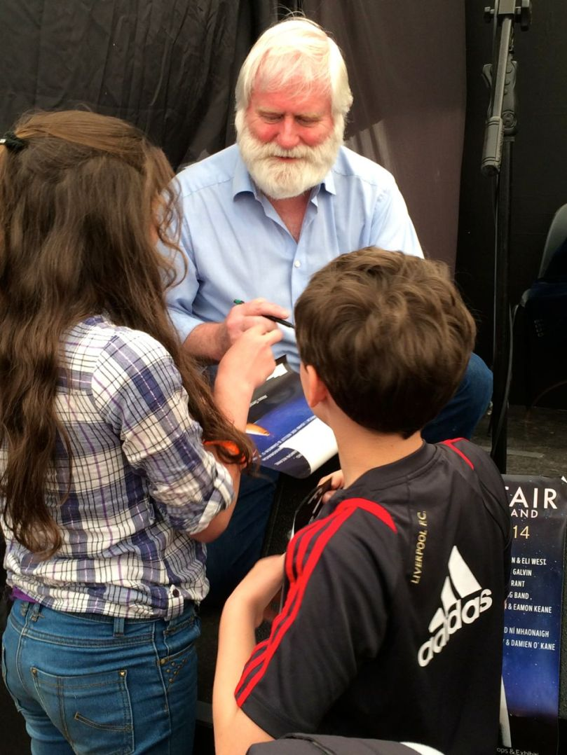 John Sheahan with young fans