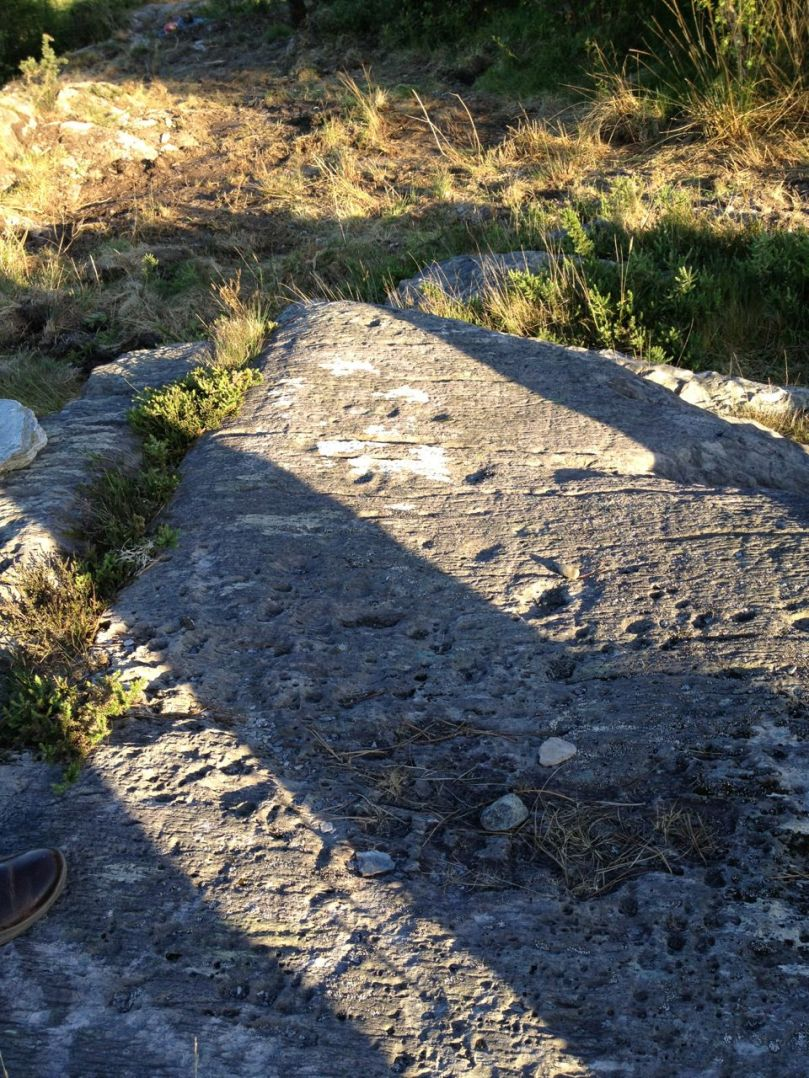 The shadows are from a newly built stone circle