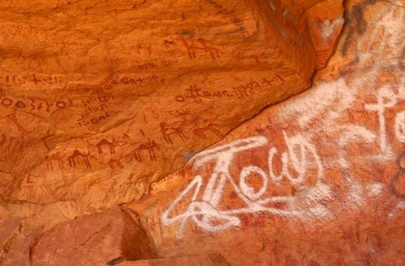 Vandalism to rock art in Libya