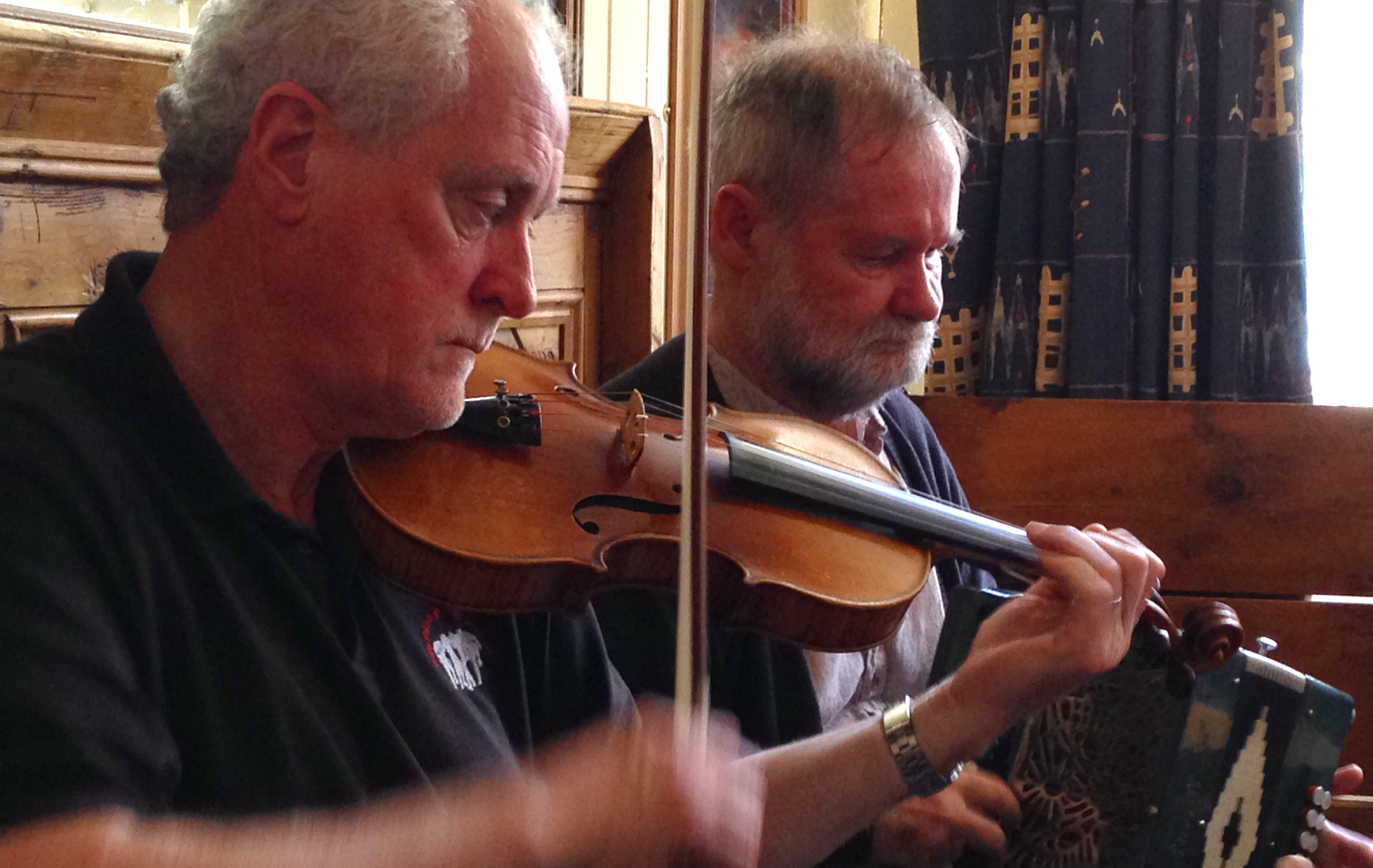 Maestros Matt Cranitch and Jackie Daly playing in Ballydehob