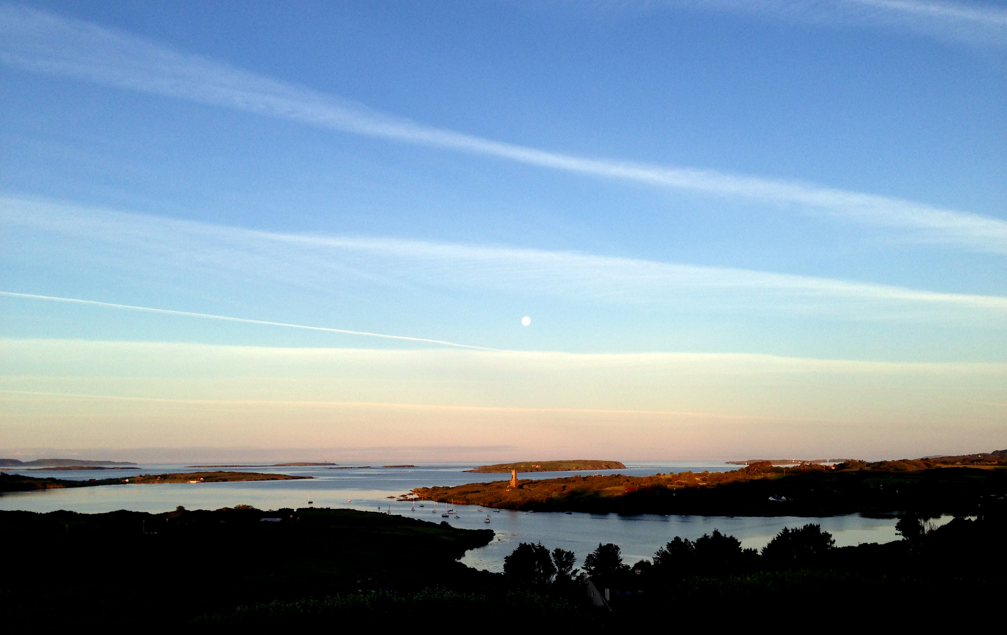 Dawn Moon over Rossbrin Castle