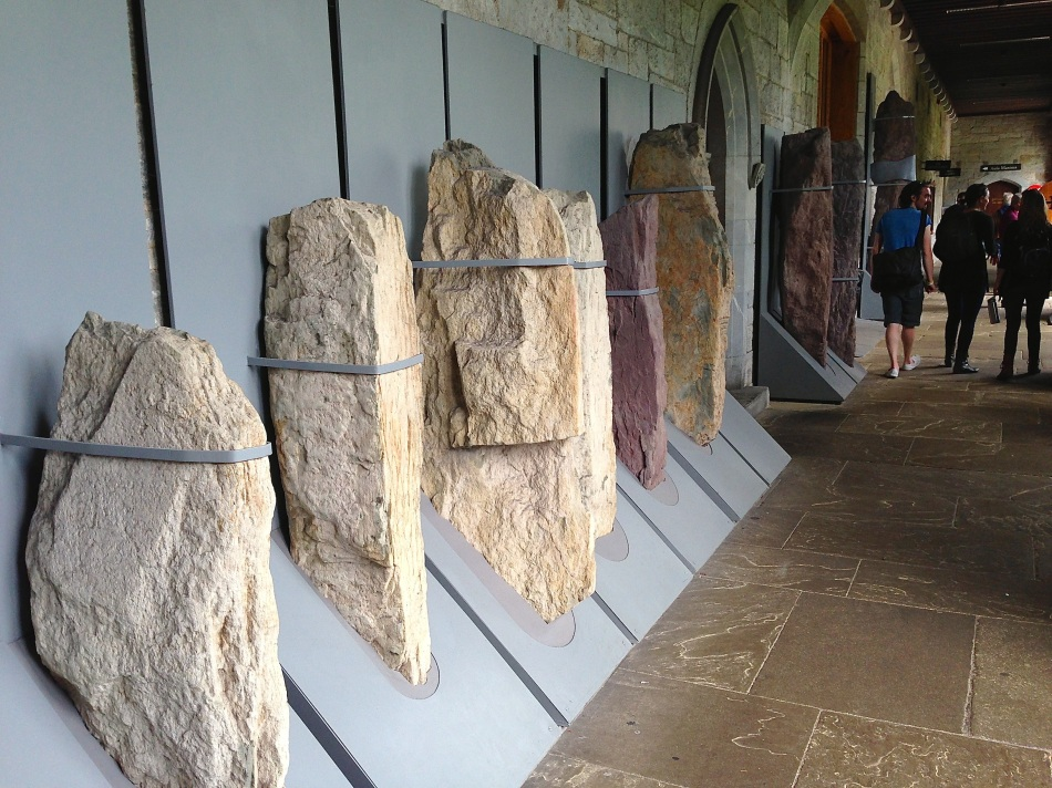 Captured! Ogham stones held in iron bands at UCC