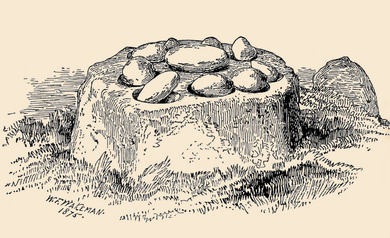 An 1875 drawing of the Killinagh Cursing Stones