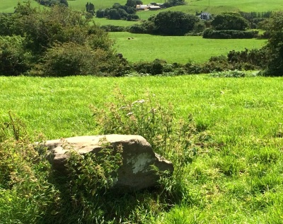 Another (fallen) standing stone in Cullomane, with stone pair visible in the distance