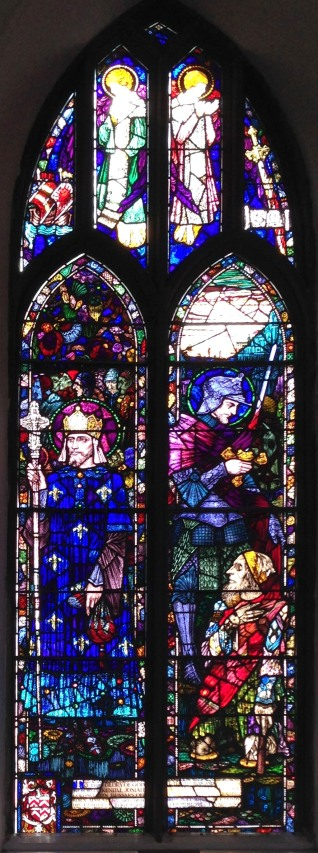 Harry Clarke's window in Castletownshend, showing St Martin and the Beggar in the right hand panel
