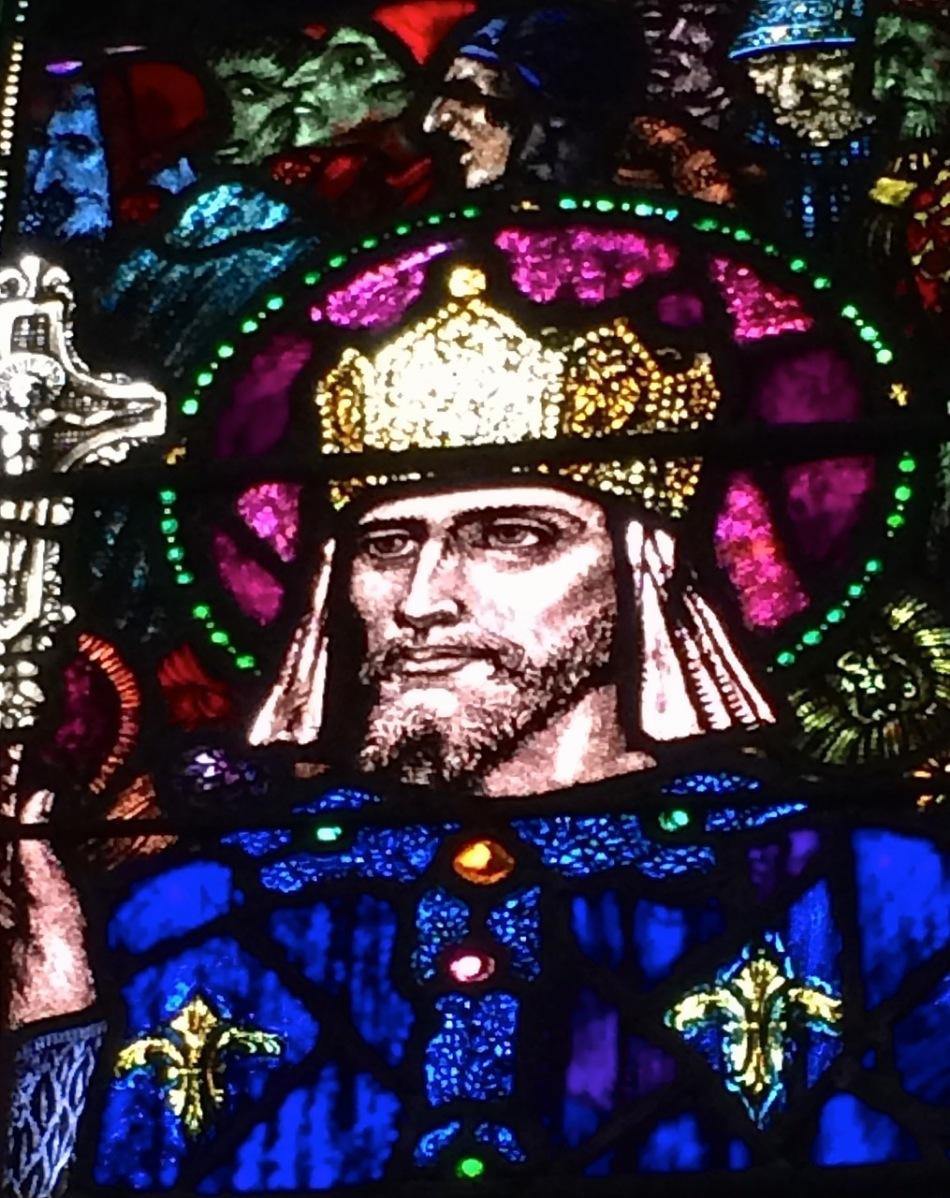 St Louis: detail of Harry Clarke window in St Barrahanes, Castletownshend