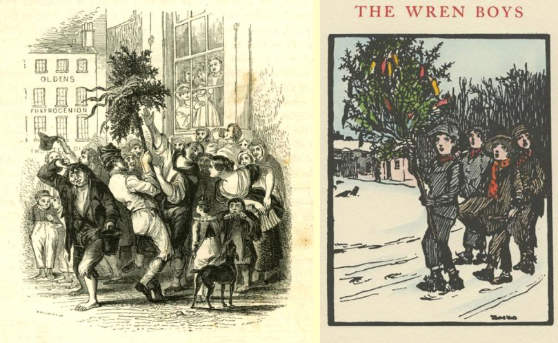 Wren Boys in Cork (Maclise 1843) and drawing by Jack Yeats