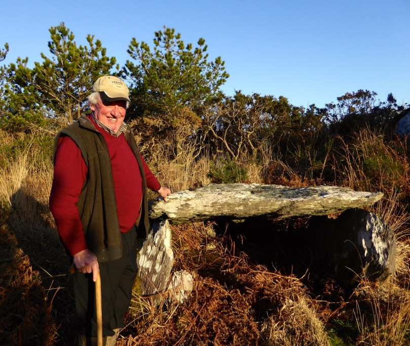 Kilbronogue wedge tomb with its guardian, Stephen Lynch