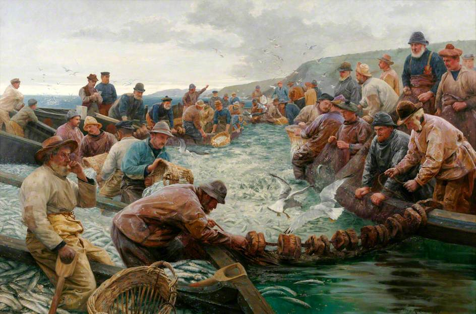 'Tucking Pilchards' Percy Craft 1897 - Penlee Gallery