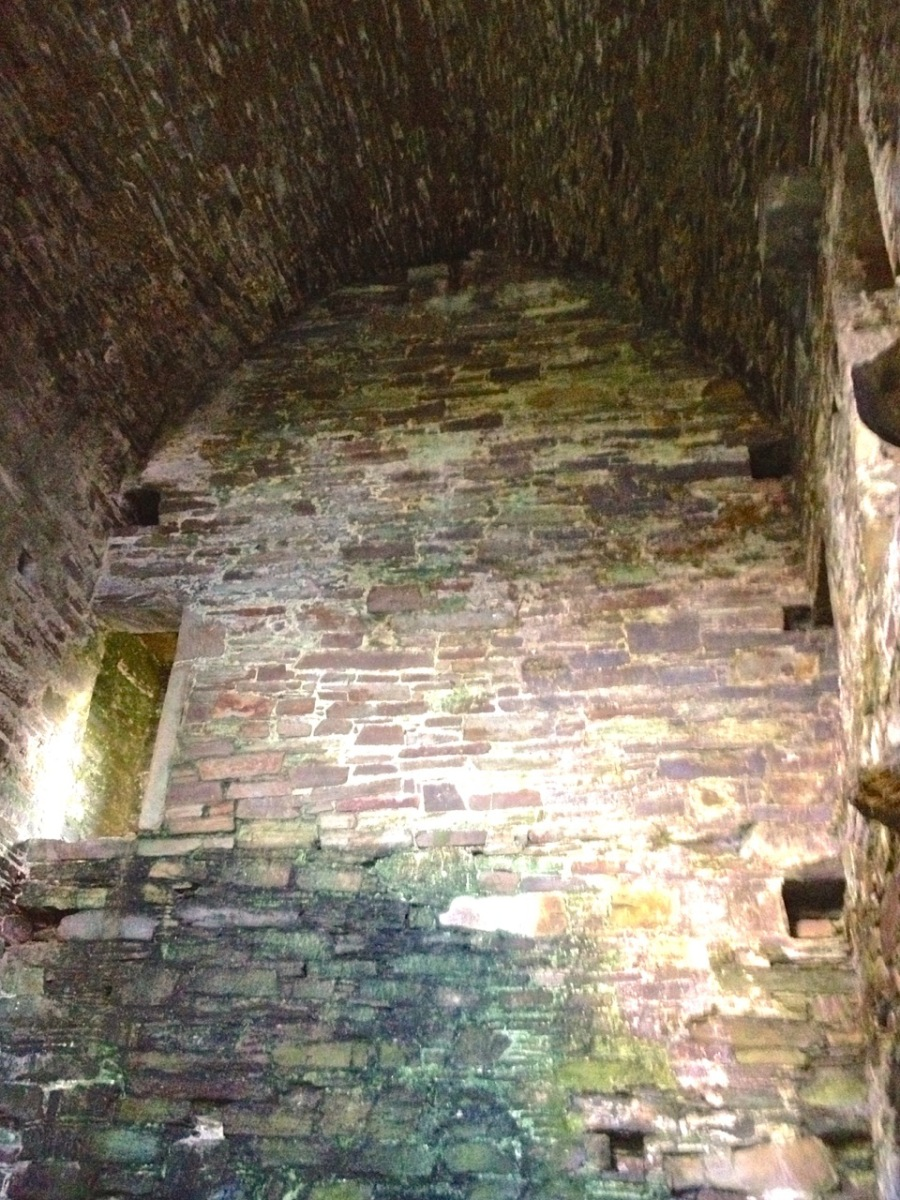 Barrel vaulted ground floor room at Dunmanus. Note access to stairwell.