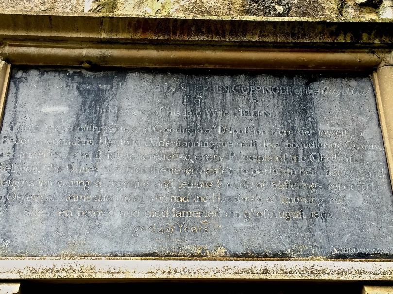 Helen Coppinger's memorial tablet