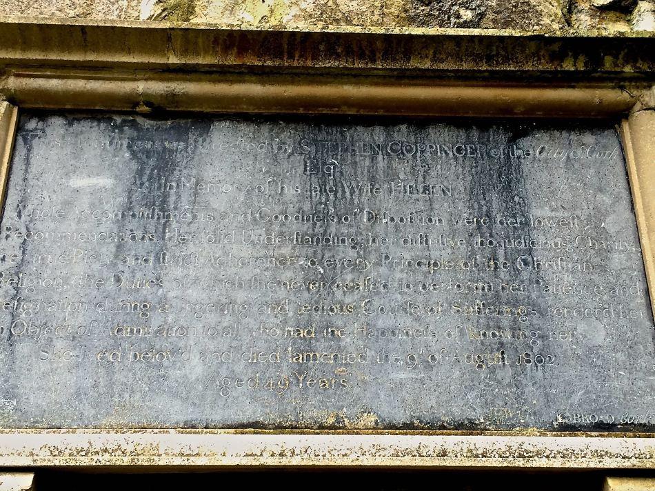 Helen Coppinger's memorial tablet