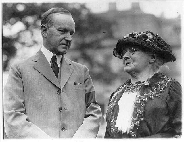 Mother Jones meets President Coolidge in 1924 (Library of Congress)