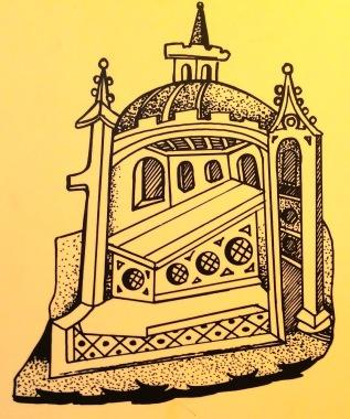 15th Century engraving of Arthur's tomb