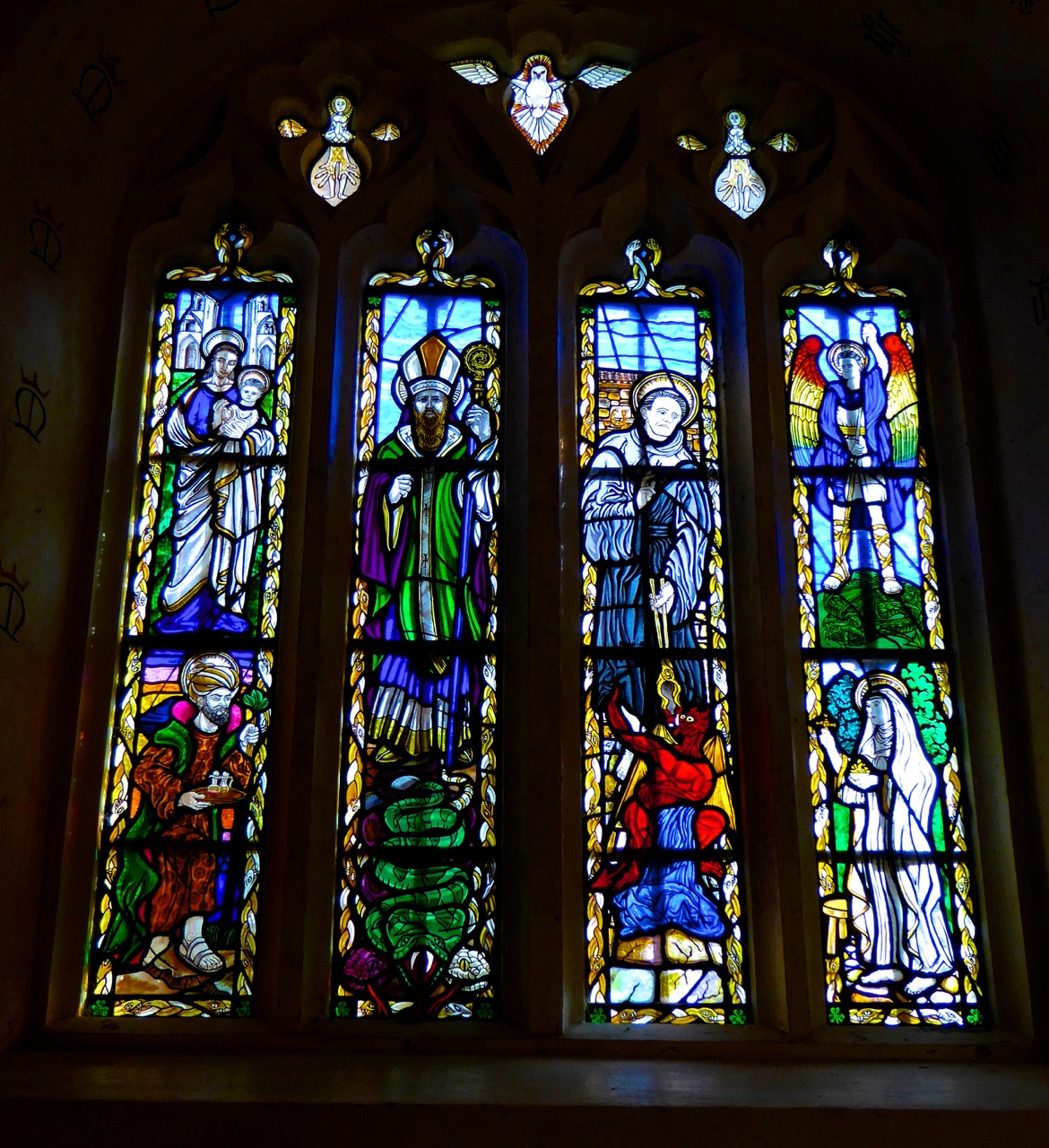 The chapel window - note St Patrick's wonderful snake!