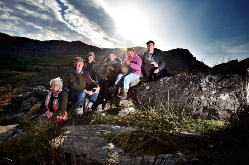 Elizabeth, Robert, Avril, Clare, Finola and Ken. Day 1 Team by Derreeny rock art.