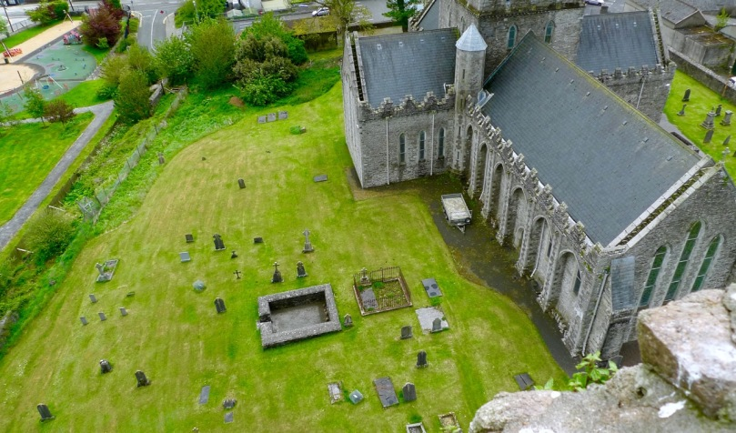 Looking down on Kildare Cathedral, with St Brigid's 'Fire Temple' in the grounds