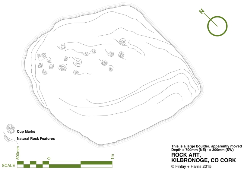 Robert's drawing of the Kilbronoge Cupmarked Stone, done on CAD using architectural drawing tehniques