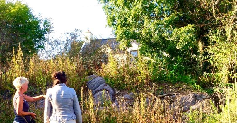 Sheona and Amanda examine the mass rock at Ardura Beg