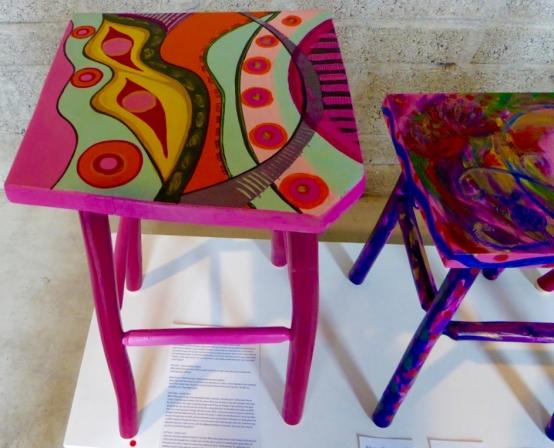2 painted stools