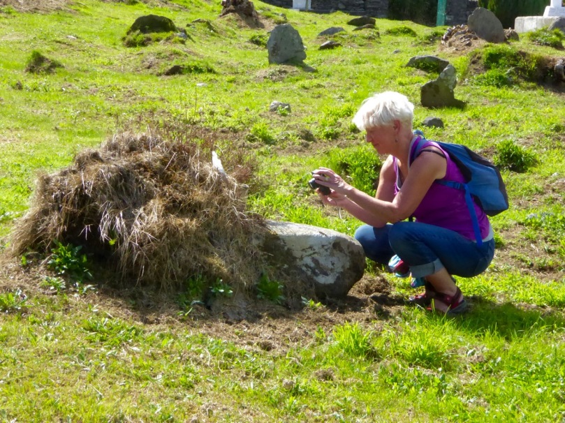 Amanda photographs the bullaun stone