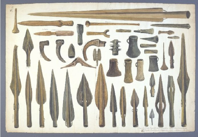 1843 drawing danish implements