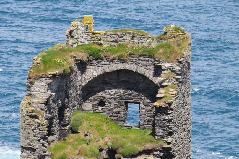 Dún an Óir, or the Fort of Gold, on Cape Clear Island. The wall walk can be clearly seen