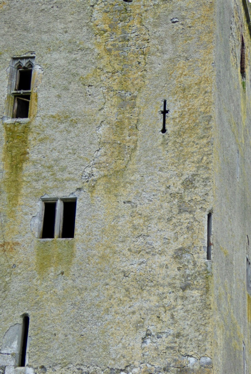 Glashare Castle in Kilkenny still shows the rendering on the outside. Note the unusual corner arrow loop