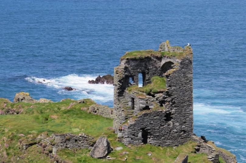 Dún an Óir Castle on Cape Clear Island. The mural stair can be clearly seen