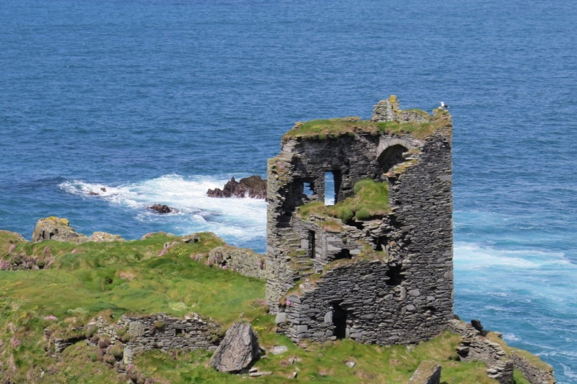 Dún an Óir Castle on Cape Clear Island. The mural stair can be clearly seen