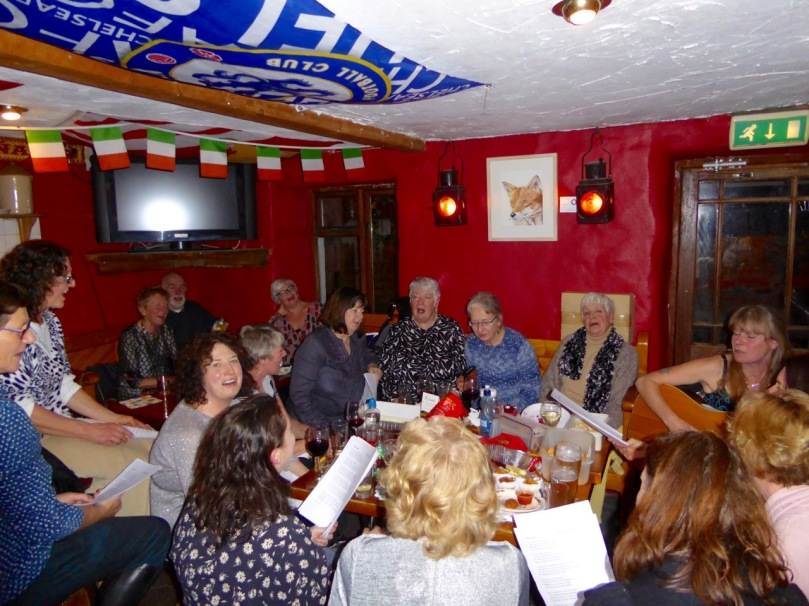 The choir Christmas get-together at Rosie's Pub. My contribution was the black pudding swirls, recipe below.