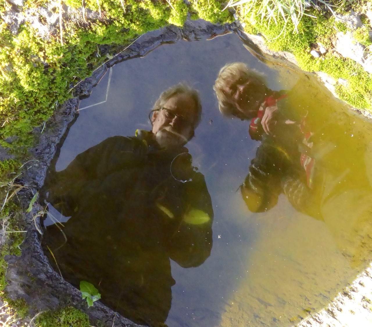 Peter and Amanda in a holy well