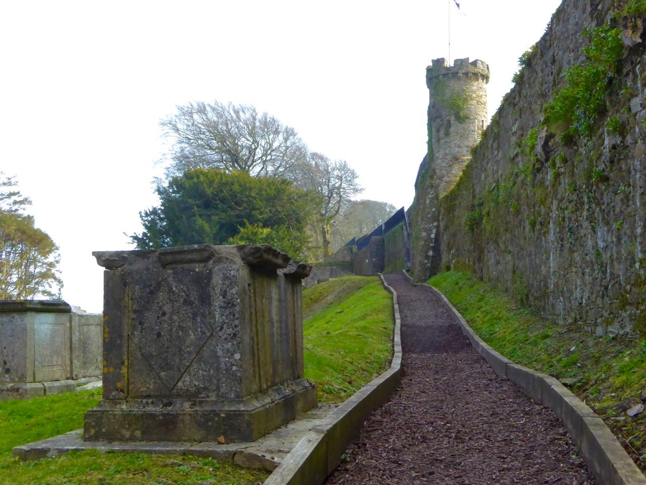 Walls above graveyard