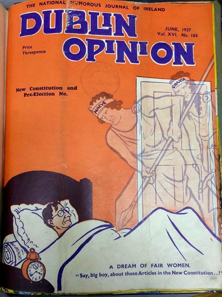Dublin Opinion cover, 1916, De Valera, Irish women, constitution