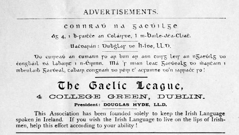 Gealic league advert