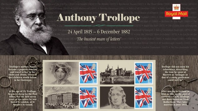 A commemorative sheet of stamps which are going on sale to mark 200 years since the birth of Anthony Trollope (Royal Mail/PA)