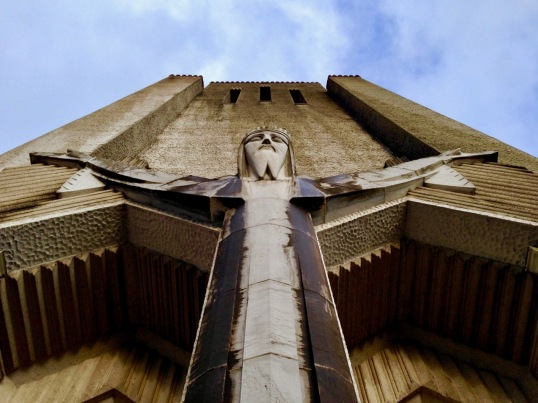 looking up at statue