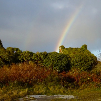 Rainbow over mining ruins