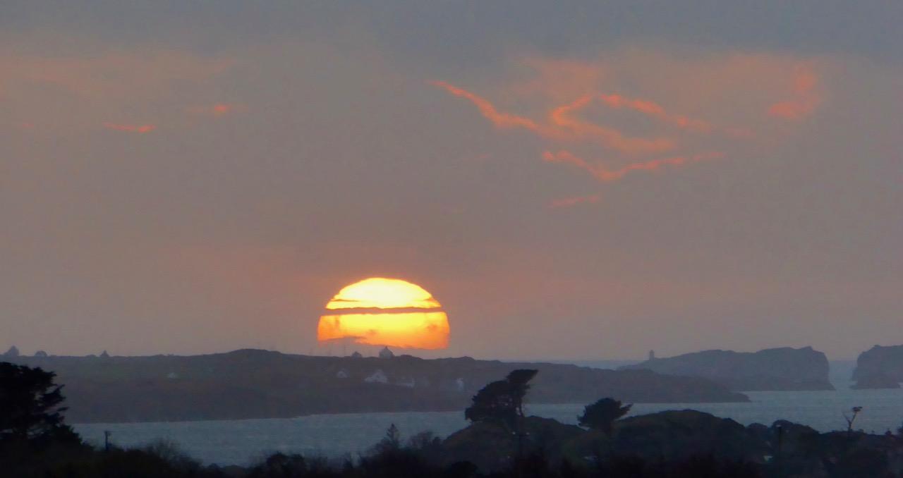 Sun sets over Long Island